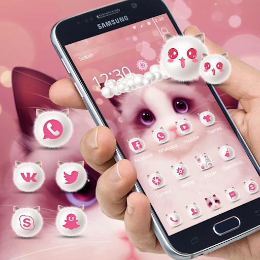 Cartoon pink cute Kitty theme 1.1.8 screenshots 1