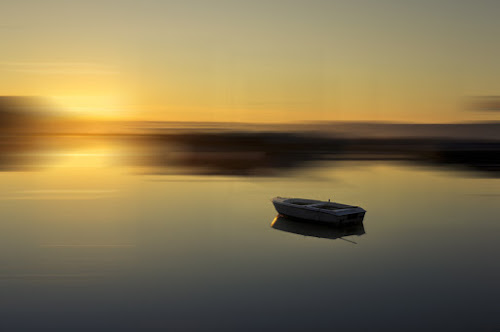 Morning by Rafael Kos - Abstract Fine Art ( colors, sea, morning, boat )