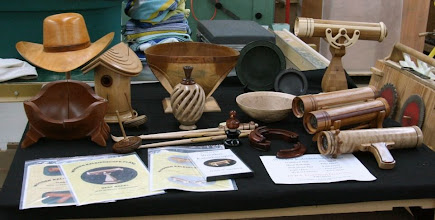 Photo: Jim Duxbur's personal show and tell table of assorted turnings.