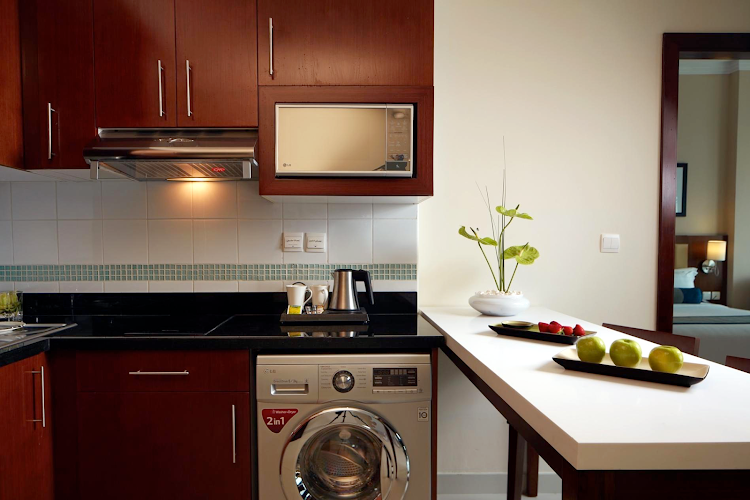 Kitchen at Al Barsha apartment