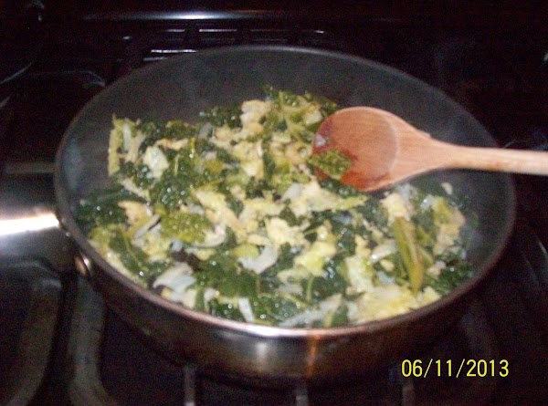 put the cooked cabbage and onion into a frying pan over medium heat ,add...