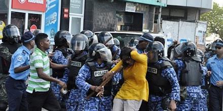 Photo: Mariya Didi - MP for Male' Machangolhi Uthuru in the brutal crackdown on MDP peaceful demonstration on 8/2/2012