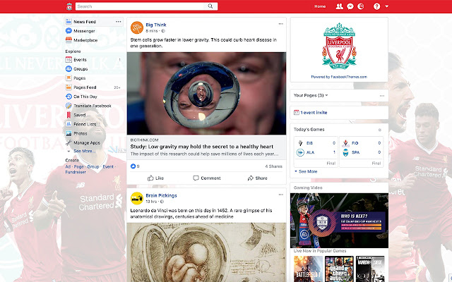 Liverpool FC Theme for Facebook