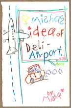 Photo: Misha really thought the airport in Delhi was one room. Really.