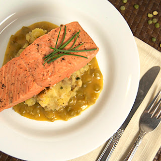 Salmon w/ Crab Mash & Split Pea Gravy