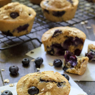 Healthy Blueberry Muffins with Oatmeal.