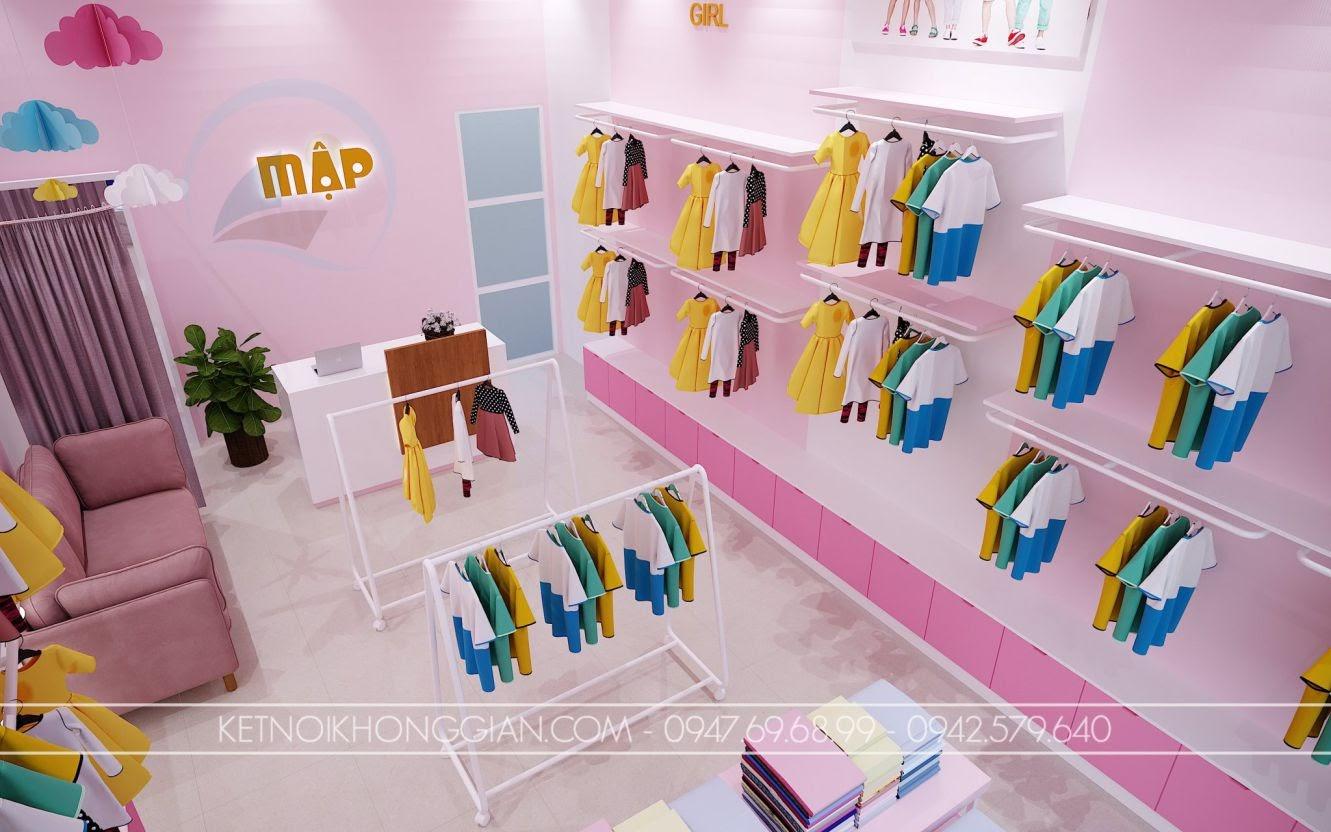 thiết kế shop quần áo trẻ em diện tích nhỏ đẹp mắt