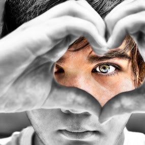 Eyes to the Heart by Kevin Kent - People Portraits of Men ( face, b&w, heart, hdr, soul, windows, portrait, eyes, love, hands, color, blue, family, peace, hair, boy, pwcfaces-dq )