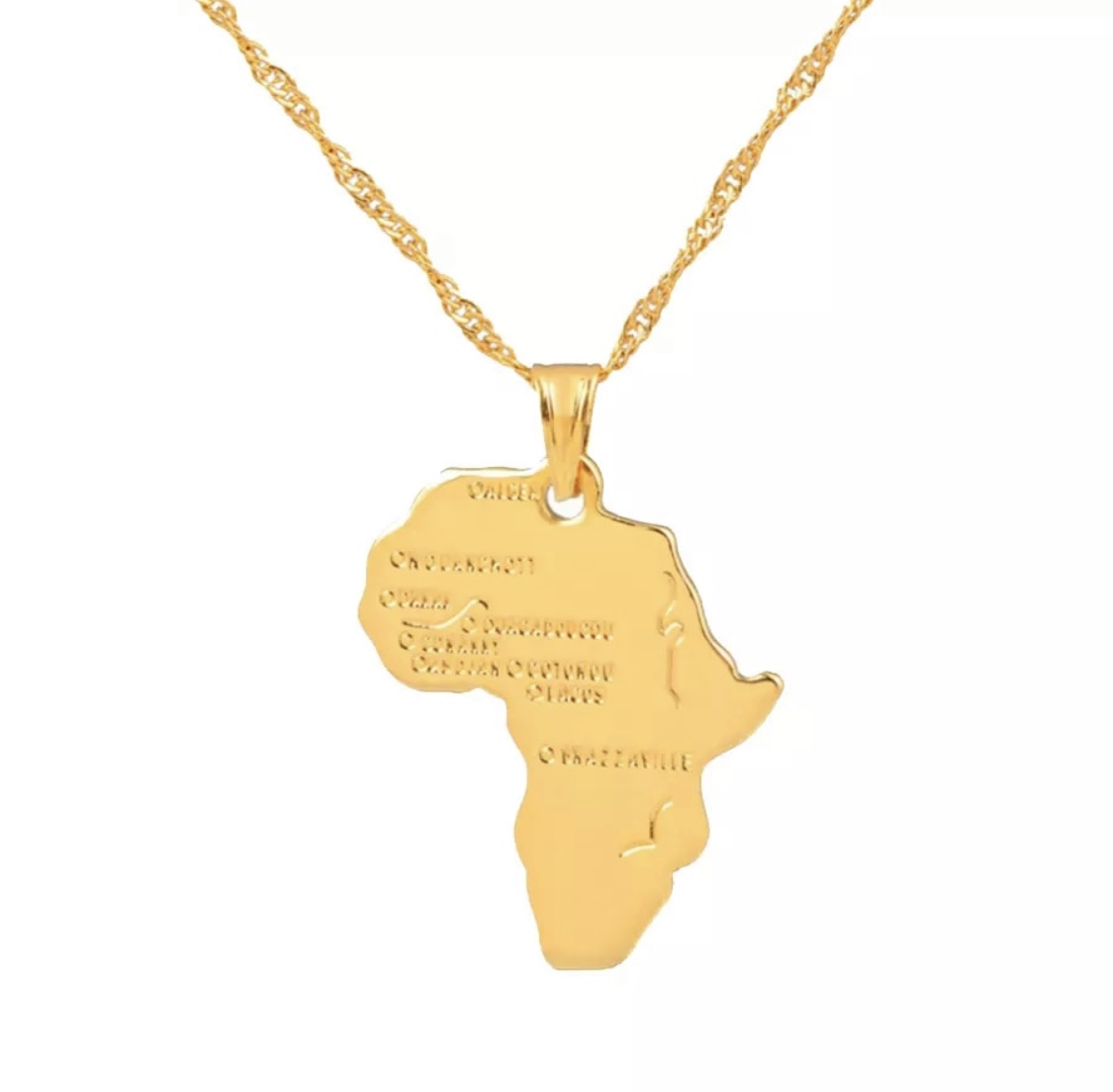 Unisex Fashion Necklace With African Map Pendant In Silver/Gold