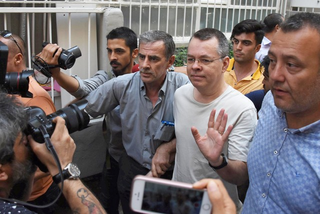 US pastor Andrew Brunson reacts as he arrives at his home after being released from the prison in Izmir, Turkey July 25, 2018.