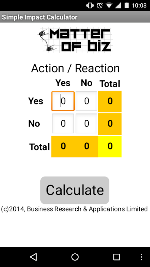 Simple Impact Calculator- screenshot