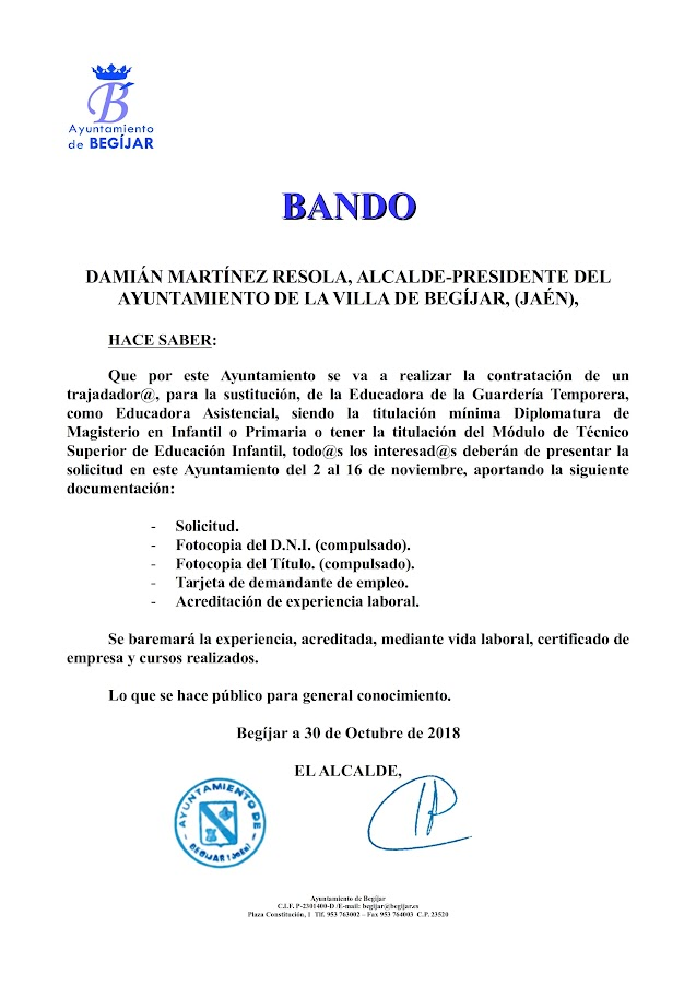 Bando Educadora Guarderia 2018