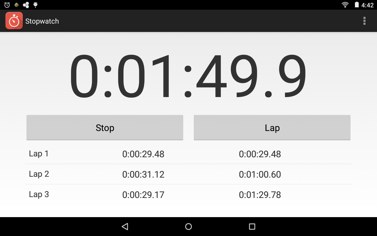 Stopwatch- screenshot