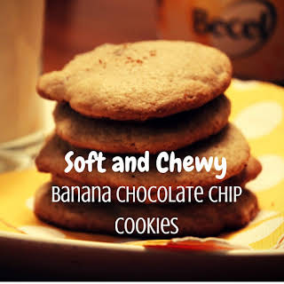 Soft & Chewy Banana Chocolate Chip Cookies.