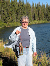 Photo: Jane with cutthroat trout at Lake Julius in the North Cascade Mountains off U.S. Hwy 2 (Photo by Celia)
