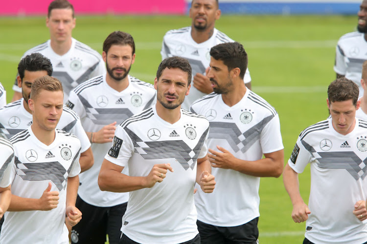Mats Hummels (centre) during a training session of the German national team on June 7 2018 in Eppan, Italy.