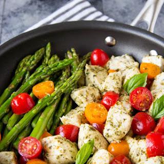 5 Ingredient Skillet Pesto Chicken + Asparagus.