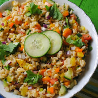 Brown Rice Salad with Cilantro Lime Dressing.