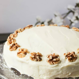 Carrot Cake with Cream Cheese Frosting & Caramel Sauce.