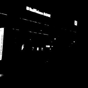 night lights by Renato Dibelčar - Black & White Street & Candid ( building, monochrome, street, maribor, htc, licht, blackandwhite, strasse, slovenia, night, nacht, light, telephone, black )