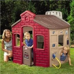 Town outdoor playhouse with kids playing