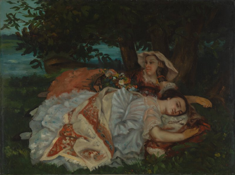 Gustave Courbet | Young Ladies on the Bank of the Seine ...