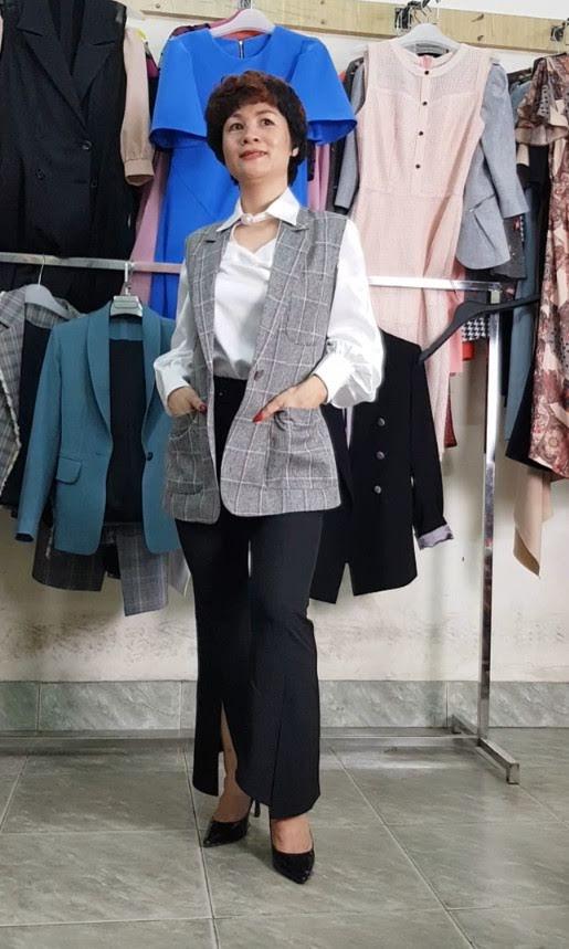 mix đồ áo Vest Nữ với quần Ống Loe thời trang thuỷ thái binh