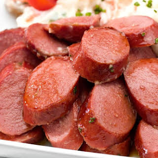 Kielbasa Appetizer With Apple Jelly and Mustard.