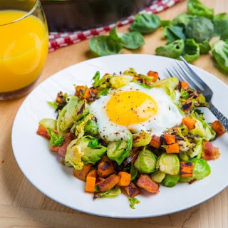 Brussels Sprout Hash with Sweet Potato and Bacon Recipe