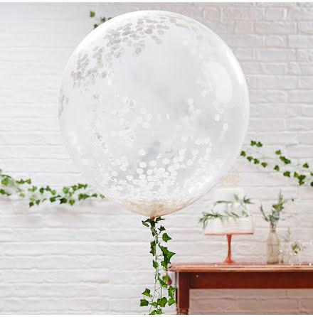 Stora konfettiballonger vit - Beautiful Botanics