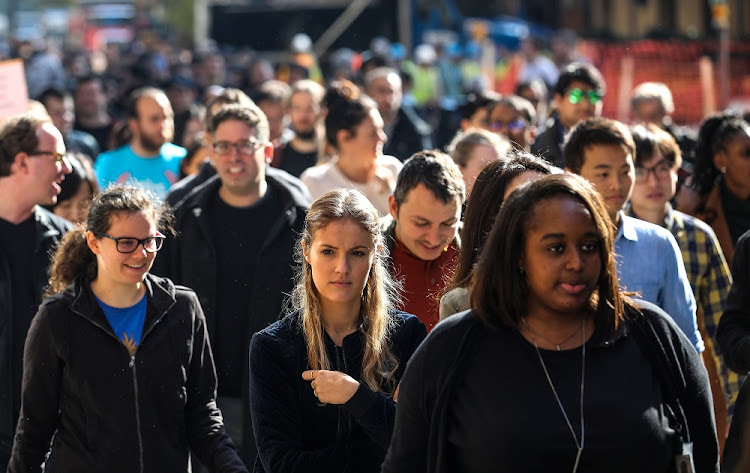 Workers at the Google offices in New York walk out as part of a global protest over workplace issues, on November 1 2018. Picture: REUTERS/JEENAH MOON
