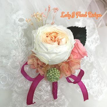 🌺珊瑚色系庭園玫瑰絲帶襟花🌺