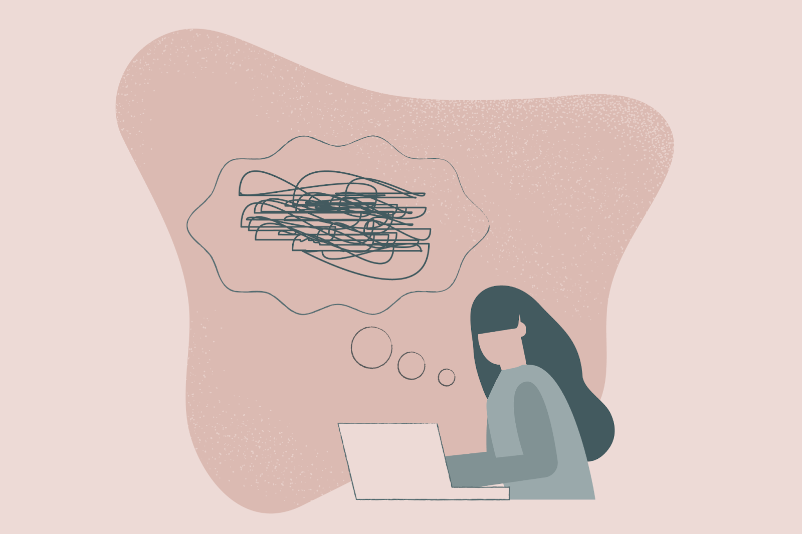 drawing of a woman thinking with scribbles in her thoughts.