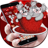Cute Red Cup Teddy Bear Theme