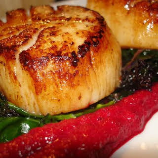 Red Beet Puree, Braised Kale and Pan-Fried Scallops.