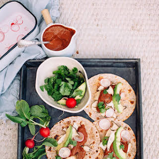 Roasted King Oyster Mushroom Tacos W/ Chipotle Cacao Sauce.