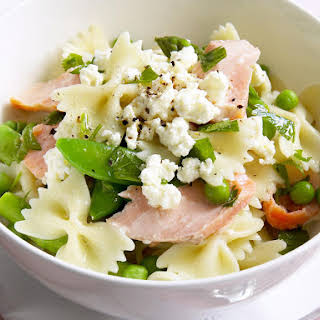 Warm Pasta Salad with Smoked Trout and Asparagus.