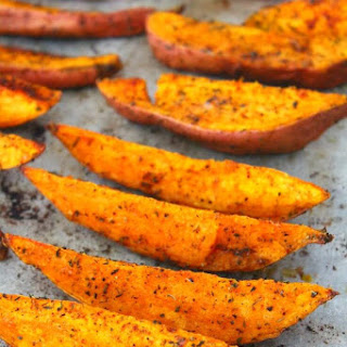 Spicy Baked Sweet Potato Wedges With Herbs.