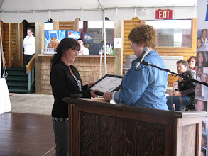 Photo: Darlene Ross receives the 2011 Provincial Learner Achievement Award from LNS Executive Director Ann Marie Downie