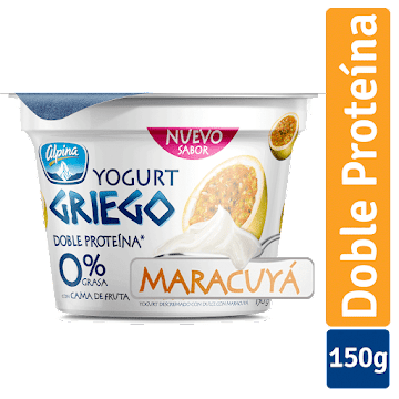 Yogurt ALPINA Griego 0%   Grasa 6% Proteina Cama Fruta Maracuyá x150g