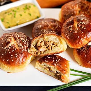 Pretzel Bao With Sweet Sesame-Hot Mustard Pork