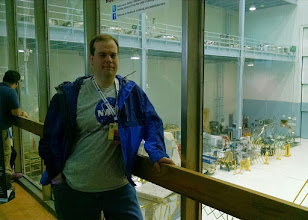 Photo: Hanging out in a room overlooking the High Bay Clean Room during NASA's #Hubble25 Social.