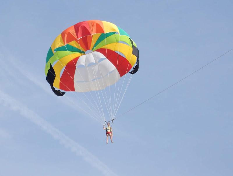 A parasailer comes in for a landing in Mazatlan, Mexico.