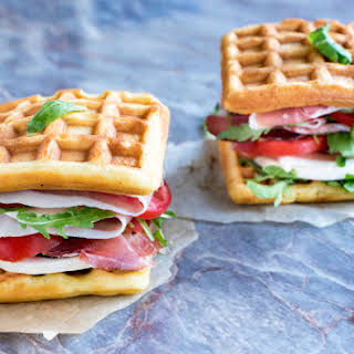 Waffled Ham and Cheese Sandwiches.