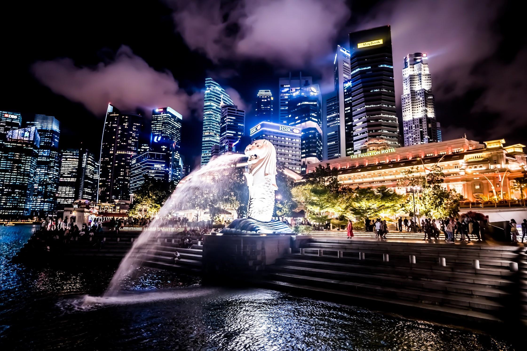 シンガポール マーライオン 夜2