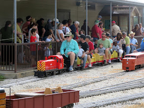 Photo: Bill Smith with his MKT 1551, an RS3.   9:00 exactly, the first train leaves the station.   HALS Public Run Day  2016-0716  RPWhite