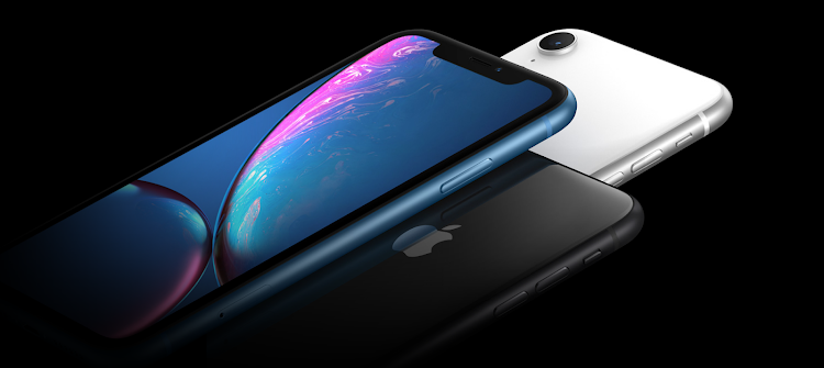 iPhone Xr in white, black and blue.