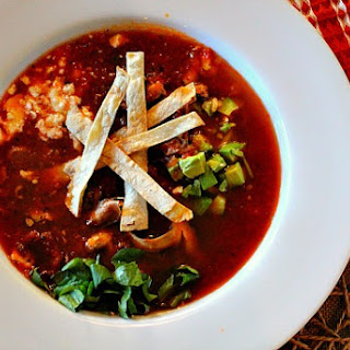 Mushroom Tortilla Soup with Chipotle Chile and Goat Cheese.