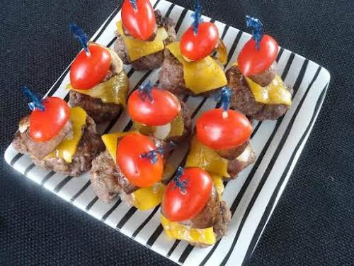 """Cheddar Burger Appetizers""""I love to eat bite-sized food and often make what..."""