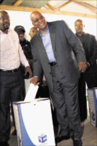 SPECIAL MOMENT: Jacob Zuma puts his ballot paperin the box. 22/04/09. Pic. Thuli Dlamini. © Sowetan.